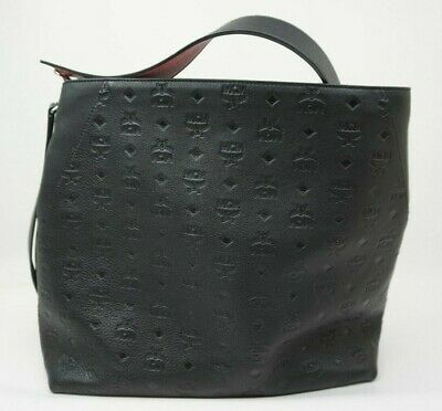 83e2e5697 MCM Klara Monogram Large Leather Hobo Black Bag w/ Crossbody Strap MSRP:$865