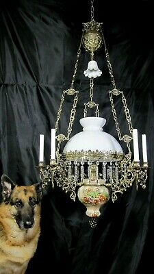 Antique French Kerosene Oil Lamp Chandelier Gothic Candles Hanging Crystal Table