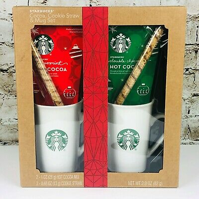 Starbucks Coffee Holiday Gift Set Hot Cocoa Cookie Straw & 2 11 oz Ceramic Mugs