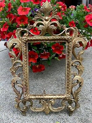 "Antique Victorian Ornate Picture Frame With Easel Brass / Heavy  4 X 6"" Photo"