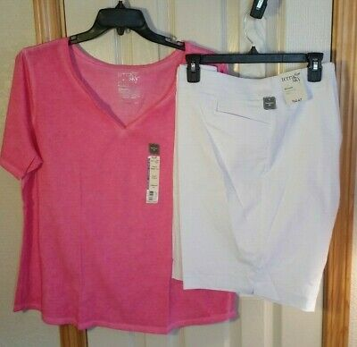 Lot of 2! New Womens Plus 1X 16W-18W WHITE Bermuda Shorts & PINK Shirt Terra Sky