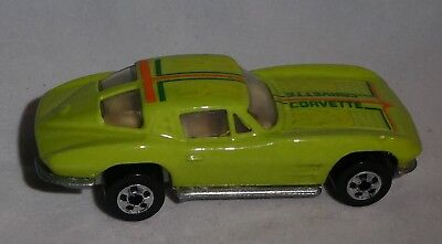 Diecast Hot Wheels  Lime Green Corvette with Flames  and Corvette across Hood