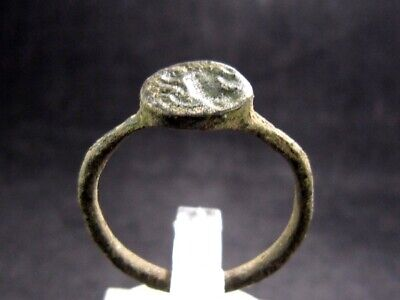 Very Rare Roman Intaglio Seal Bronze Ring, Jumping Horse Image+++