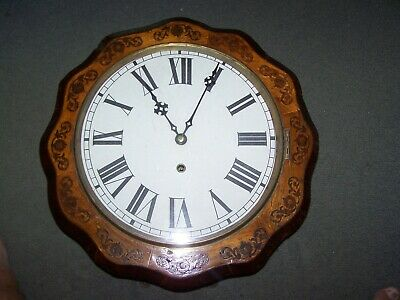 ANTIQUE ANGLO AMERICAN 12 inch INLAID DIAL CLOCK IN EXCELLENT WORKING CONDITION