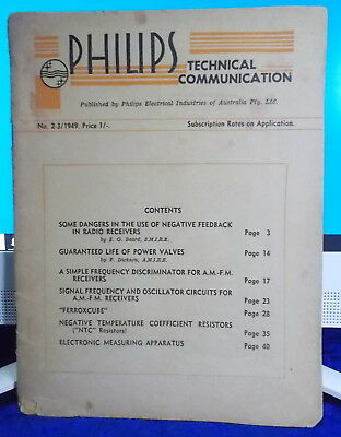 1949 PHILIPS TECHNICAL COMMUNICATION No 2-3 Publication WWII  RARE ❤️OFFERS