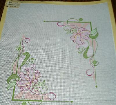 Flowered Picture Frame Hand Painted Needlepoint Canvas