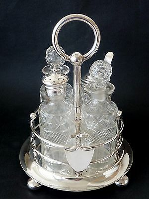 ANTIQUE Victorian SILVERPLATE cut glass CRUET SET 4 bottle QUALITY Walker & Hall