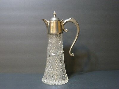"Vintage Claret/Jug Diamond Patern Glass Ornate SilverPlated Top 12"" England EUC!"