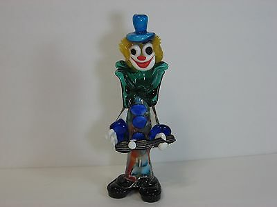 "MURANO, MILLEFIORI Glass Clown PLAYING GUITAR 10.5"", Large Bow, Top Hat, Vintage"