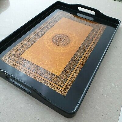 Oriental Black & Gold Coloured Glossy finish  Serving Tray