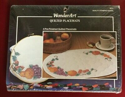 WonderArt Fruit Stamped Quilted Placemats Cross Stitch Kit 13x19 Look!
