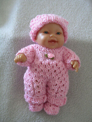 """Hand Knitted Doll Clothes Set For 8"""" Chubby Berenguer Doll Or Similar. Pink"""