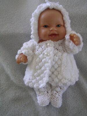 """Hand Knitted Doll Clothes Set For 8"""" Chubby Berenguer Doll Or Similar. White"""