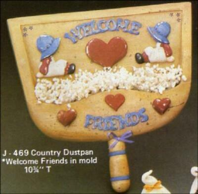 "Country Dustpan ""Welcome Friends"" Clay Magic No J469 Ceramic Mold"