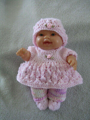 """Hand Knitted Doll Clothes For  8"""" Chubby Berenguer Or Similar Size Doll. Pink"""