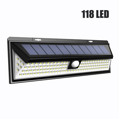 LTPAG 118 LED Solar Powered Security Lights,Ultra Bright 120 Degree Outdoor Wall