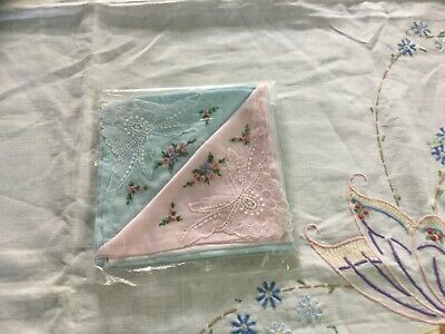 Pack of Two Embroidered Ladies Handkerchiefs