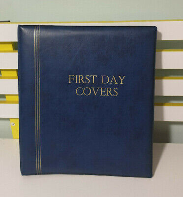 First Day Cover Album Blue With Gold Font