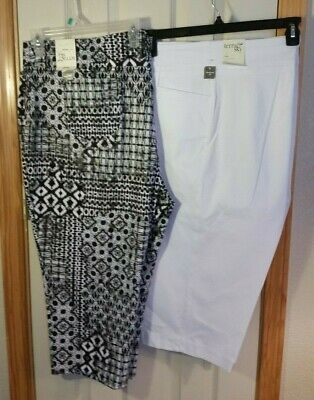 Lot of 2! New Womens 3X 24W-26W Capri Pants Terra & Sky - WHITE & BLACK Jeggings