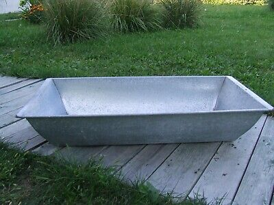 Vintage Galvanized rectangular Farm Tub Laudry Basin antique zinc tub