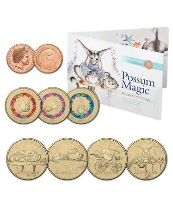 2017 Possum Magic Coin Set - 8 Uncirculated Coins including One Cent Coin New,