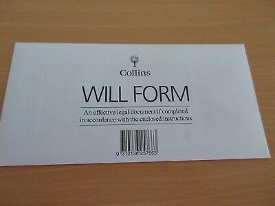 1 x Collins Australian DIY Will Kit Form / Envelope / Instructions free postage