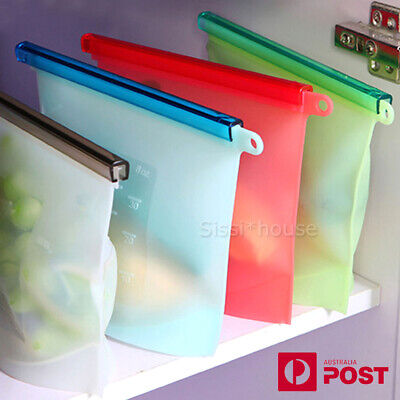 4/8 PCS  Reusable Silicone Seal Food Storage Food Preservation Bags Container AU