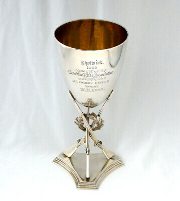 Victorian Sterling Silver Rifle Shooting Trophy Goblet. Shotwick, Cheshire 1866.