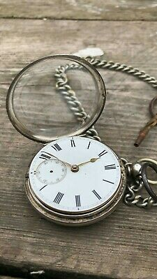 Beautiful Vintage Silver Pocket Watch With Chain & Key *