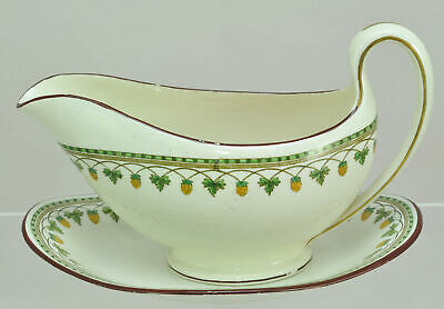 Antique Wedgwood Strawberry Fruit Gravy Boat and Under Plate