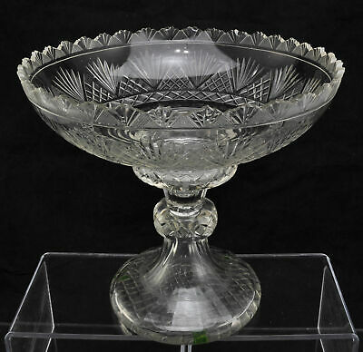 Large Antique Blown & Cut Glass Bowl 2 Piece Compote 2 Bases 19th Century