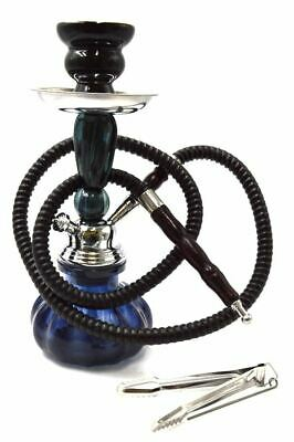 "New 11"" Black Design Glass Vase Hookah Shisha Smoking Pipe Plastic Hose"