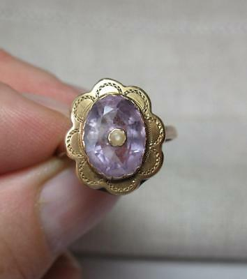 Belle Epoque Amethyst Pearl Ring Victorian Art Deco Wedding Engagement 10K Gold