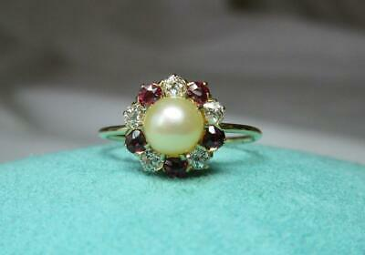 Ruby OMC Diamond Pearl Victorian Ring 14K Gold Spectacular Rubies Belle Epoque