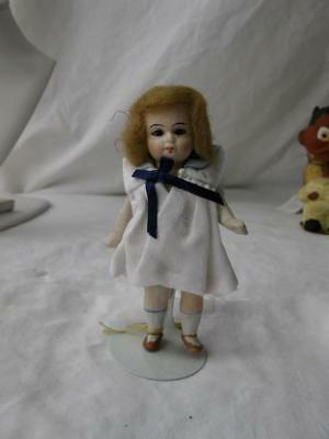 """Antique German Doll 4.5"""" All Bisque P6075 Wig Glass Eyes Painted Shoes Socks"""