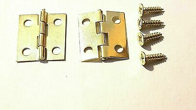 Small Hinges With Screws Brassed Jewellery Box Dolls House Multi Listing