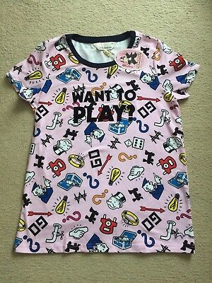 Peter Alexander Size XS Womens Monoploy Want To Play Short Slv Pyjama Top BNWT!