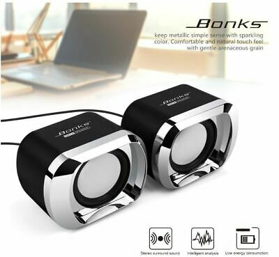 Speakers Computer USB PC Desktop Laptop Stereo Black Sound Easy to install New