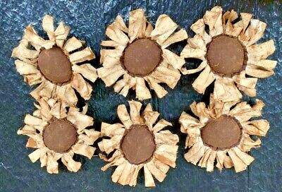 Primitive  Bowl Fillers/ Sunflowers/white/Brown  Center/Grunged