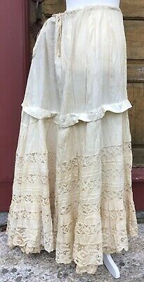 """Antique 1880'S Victorian Lace Bustle Petticoat 18"""" Of Hand Made Lace And Pintuck"""