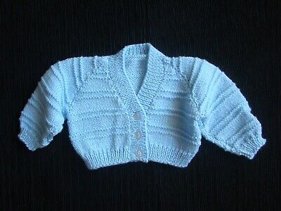 Baby clothes BOY 3-6m blue, short, pattern, soft hand knitted cardigan SEE SHOP!
