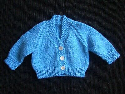 Baby clothes BOY premature/tiny<7.5lbs/3.4kg mid-blue 3-button cardigan SEE SHOP