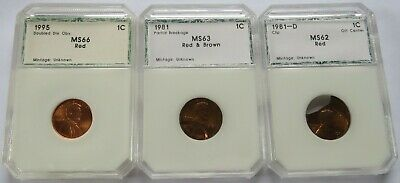 1981 + 1995 Error Lincoln Cents, DDO, Partial Brockage, Clipped 1C coins (19097E