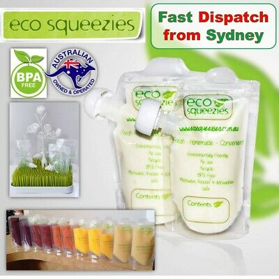 10x 200ML Reusable Food Pouches Squeeze Pouch Baby Storage Bag Yogurt container