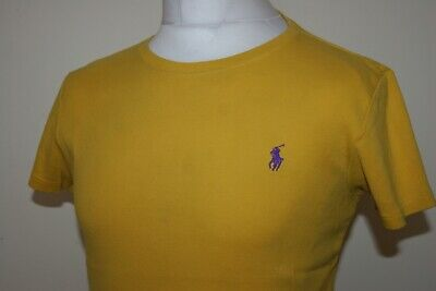 Ralph Lauren Womens Bright Yellow / Purple Crew Neck T-Shirt Size XL Vintage Top