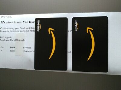 $100 Value Amazon Gift Cards - 2 cards $50 each