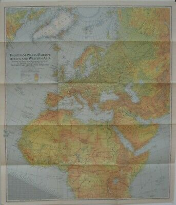 1942 WW2 War Map EUROPE AFRICA Germany Poland France Italy Russia Western Asia