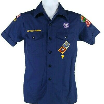 Official Boy Scouts Of America Youth Large Blue Cub Scout BSA Uniform Shirt