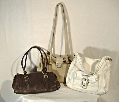 Lot of 3 Leather Bag Purse Liz Claiborne Messenger Tote White Brown Taupe