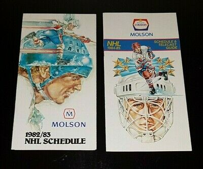 1982-83 + 1984-85 NHL Hockey Schedules Gretzky Oilers Vaive Leafs Bouschman Jets